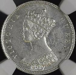 1876 H Hong Kong Crowned Victoria Bust Facing Left 10 Cent Silver Coin NGC MS 61