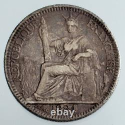 1884-A French Cochin China 10 Cent Silver Coin KM #4 VF Condition
