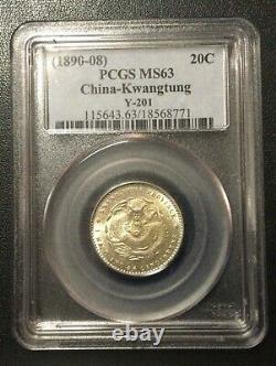 1890-1908 China-kwangtung Province 20 Cents Pcgs Ms63 Y-201 Silver Coin