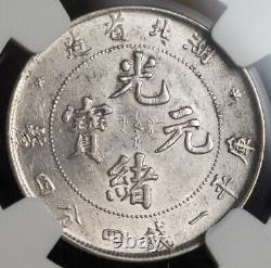 1907, China, Hupeh Province. Beautiful Silver 20 Cents Coin. LM-184. NGC MS-62