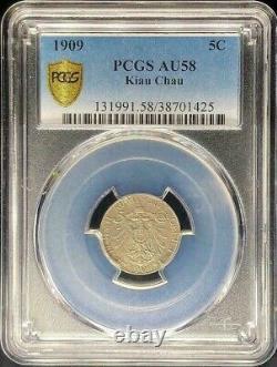 1909 China Kiau Chau 5 Cents Y-1 Pcgs Au 58, Copper-nickel