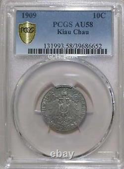 1909 china/GERMANY KIAU CHAU 20 cents silver coin PCGS AU58