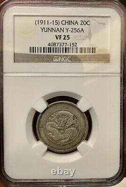 1911-15 China 20 Cents Yunnan Silver Coin NGC VF25