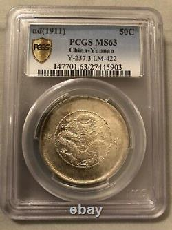 1911-15 China Yunnan 50 Cents Y-257 Lm-422 Ngc Ms 63, Silver