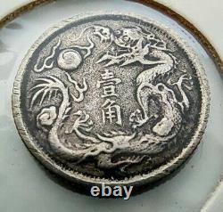 1911 China Empire silver 10 Fen Cents / 1 Jiao rare coin 2.7g Pu Yi Year 3
