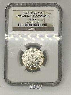 1922 China Kwangtung 20-C Cent NGC MS 63 -SUPERB LUSTER