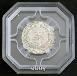 1923, French Indo-China. Beautiful Silver 20 Cents (1/5 Piastre) Coin. GENi M$63