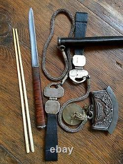 19th Cent Chinese/ Mongolian Silver & leather Official Knife with Chopsticks Set