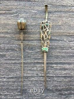 2 antique 19th cent Chinese silver hairpin with enamel