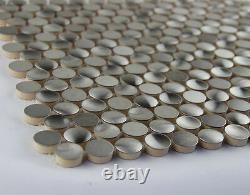 3D penny round stainless steel metal mosaic tile kitchen backsplash decorative