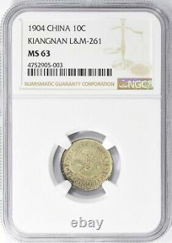 486 scarce China 1904 Kiangnan 10 Cents LM-261, Y-142a. 13 K-105 NGC MS63