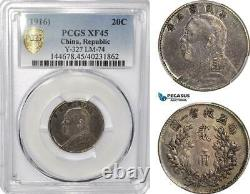 AF737, China, Fat Man 20 Cents 1916, Silver, L&M-74, PCGS XF45