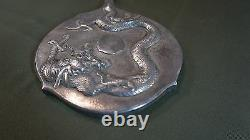 Beautiful 19th20th Cent. Chinese Export Protruding Dragon Silver Mirror Marked