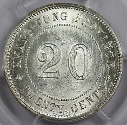 CHINA KWANGTUNG 1921 20 Cent Silver Coin PCGS MS62 Y-423 L&M-151 UNC/BU