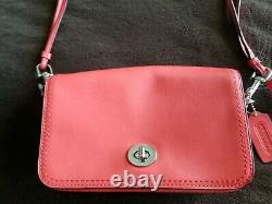 COACHPurse E126919914 Dinky Penny Flap Crossbody Shoulder Bag Coral Red Leather