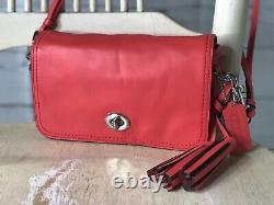 COACH Dinky Penny Flap Crossbody Shoulder Bag Turn Lock CORAL RED Leather 19914
