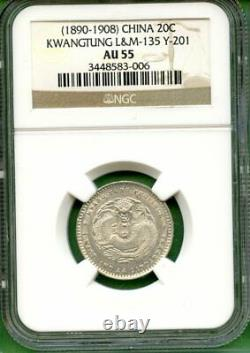 China 1890-08 Kwangtung 20 Cents Ngc Au 55 LM 135 Y201