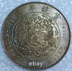 China Empire 10 cents 0,820 Silver CD1907 KM214 Gold Shield (B+122)