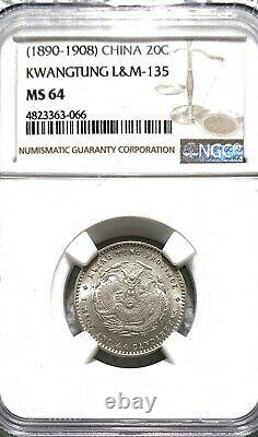 China Empire Kwangtung 20cents NGC MS 64