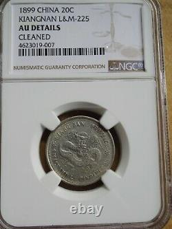 China Kiang Nan, 20 cent 1899 Silver Dargon, NGC AU Details