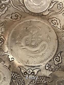 China Yunnan Province 50 Cents Silver World Coin Tray With China Dragon Coins