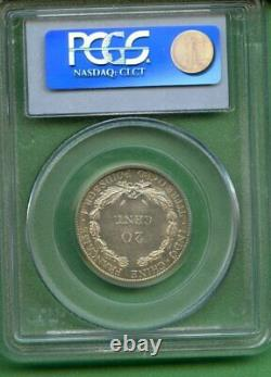 F. I China 1937 20 Cents Pcgs Ms 64 Silver