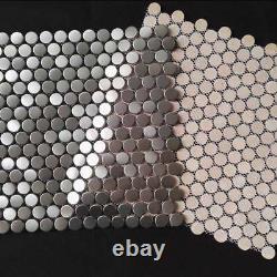 Matel Mosaic Tile Silver Kitchen Backsplash Penny Round Tiles Wall Decor 11PCS