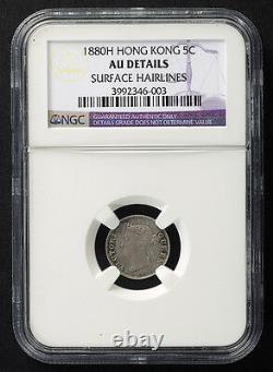 NGC 1880H China British HONG KONG UK SILVER Coin 5 Cents Five NGC LOW MINTAGE