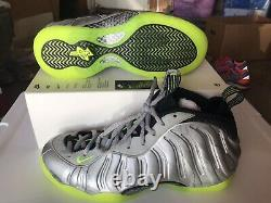 New Nike Air Foamposite One Metallic Silver Volt Camo PRM Size 10 Shoes Penny