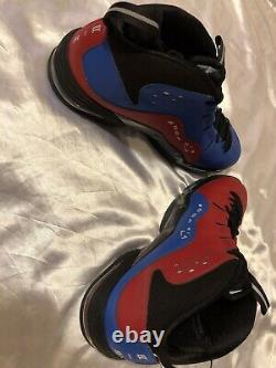 New Nike Air Penny 3QS Black Metallic Silver Gym Red Blue Size 10