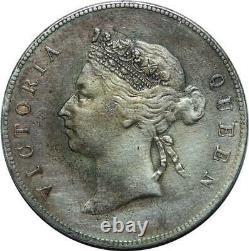 P3449 Scarce Hong Kong China 50 Cents Victoria 1893 Silver AU