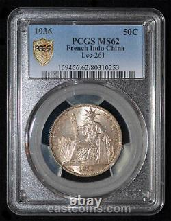 PCGS MS62 1936 French Indo China Silver 50 Cents SKU 110