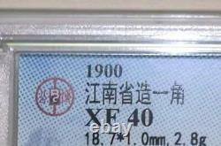 Rare-1900 china kiangnan dragon 10 cents silver coin XF
