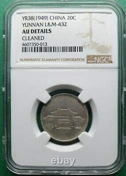 Yr38 (1949) China Yunnan 20 Cents L&m-432 Silver Ngc Au Details Cleaned